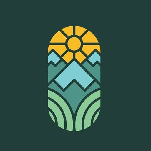 Stained glass mountain landscape logo design