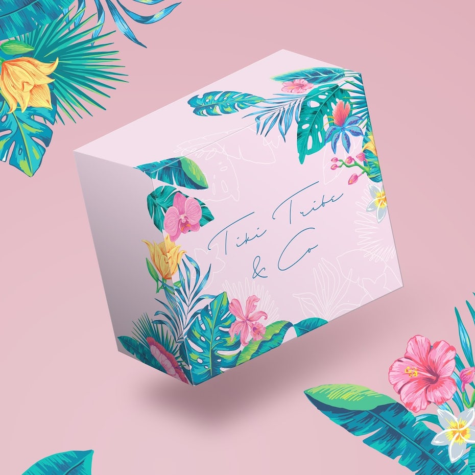 Pink cosmetic packaging with illustrated flora