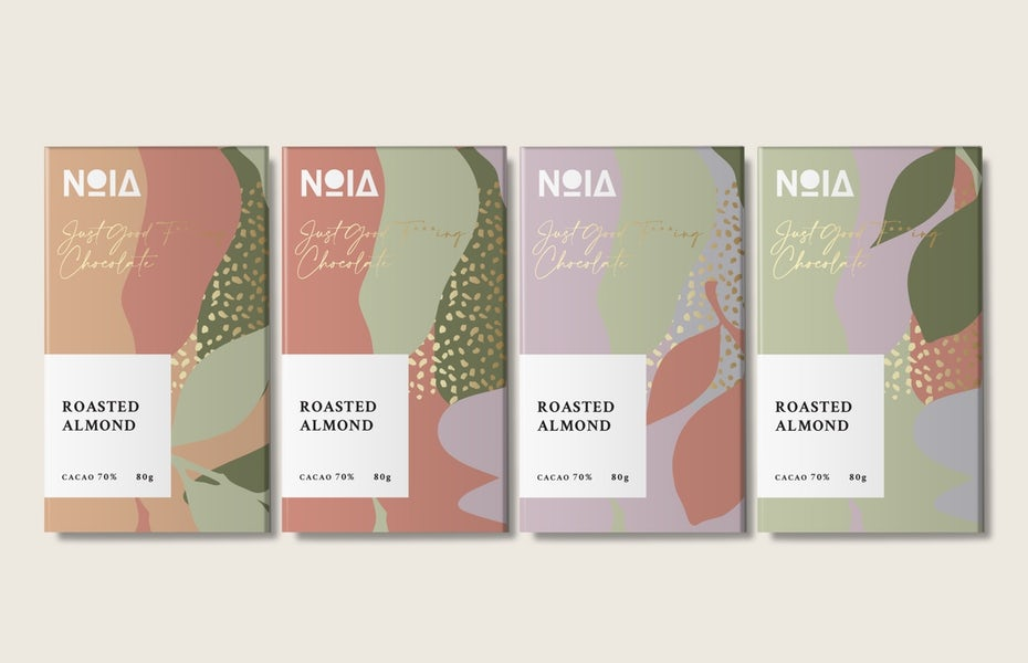 verpackungstrend Natürlich geformtes Color Blocking: schokoladenverpackung mit natürlich geformten farbblöcken
