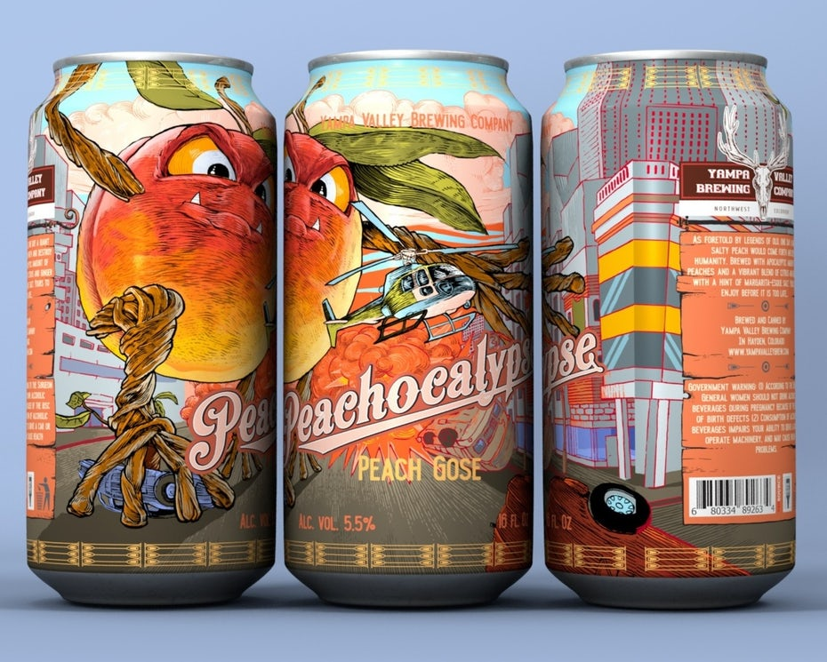 story-driven packaging design trend: multicolored beer can depicting an angry peach