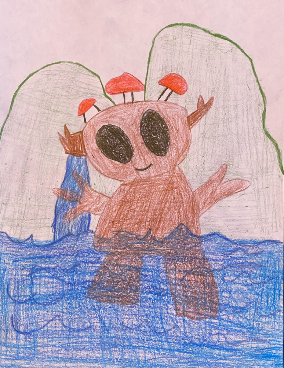 kids drawing of monster