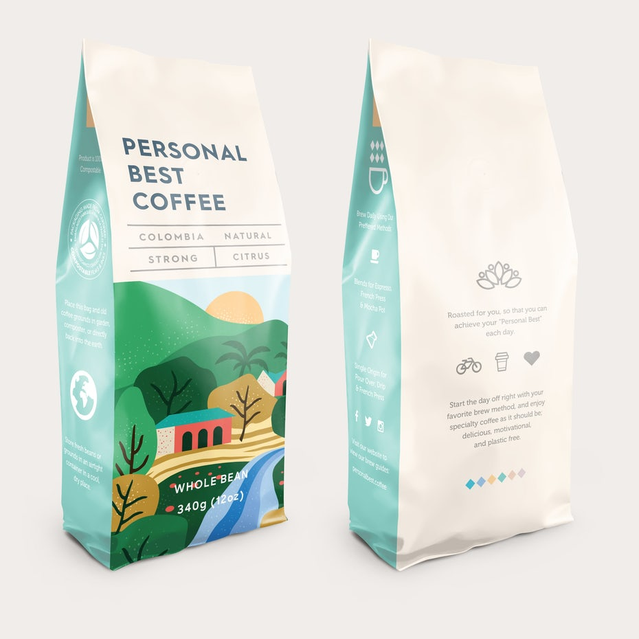 Coffee pouch packaging design with illustrated nature scene