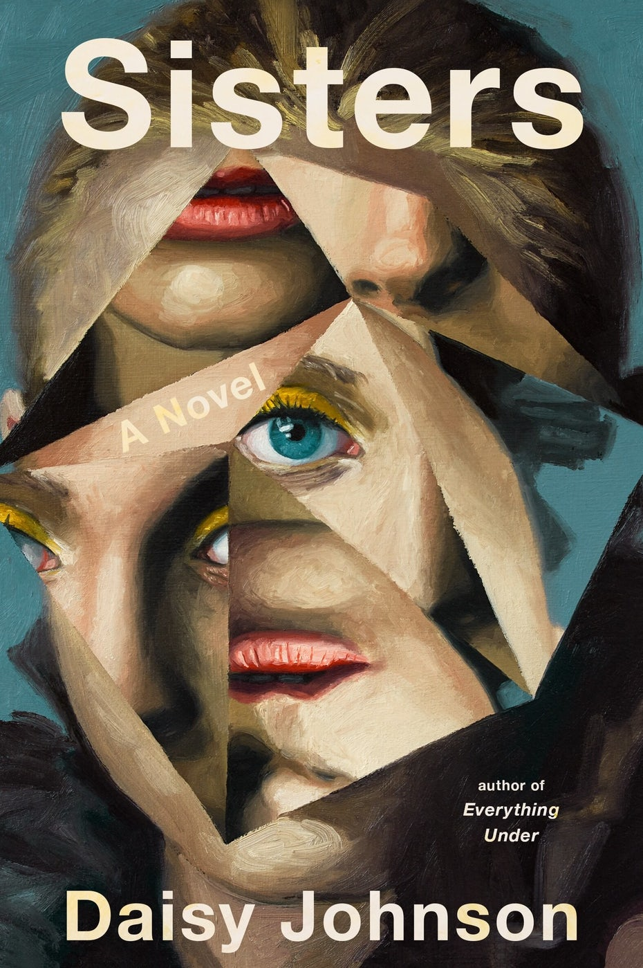book cover showing a woman's face in mirror shards