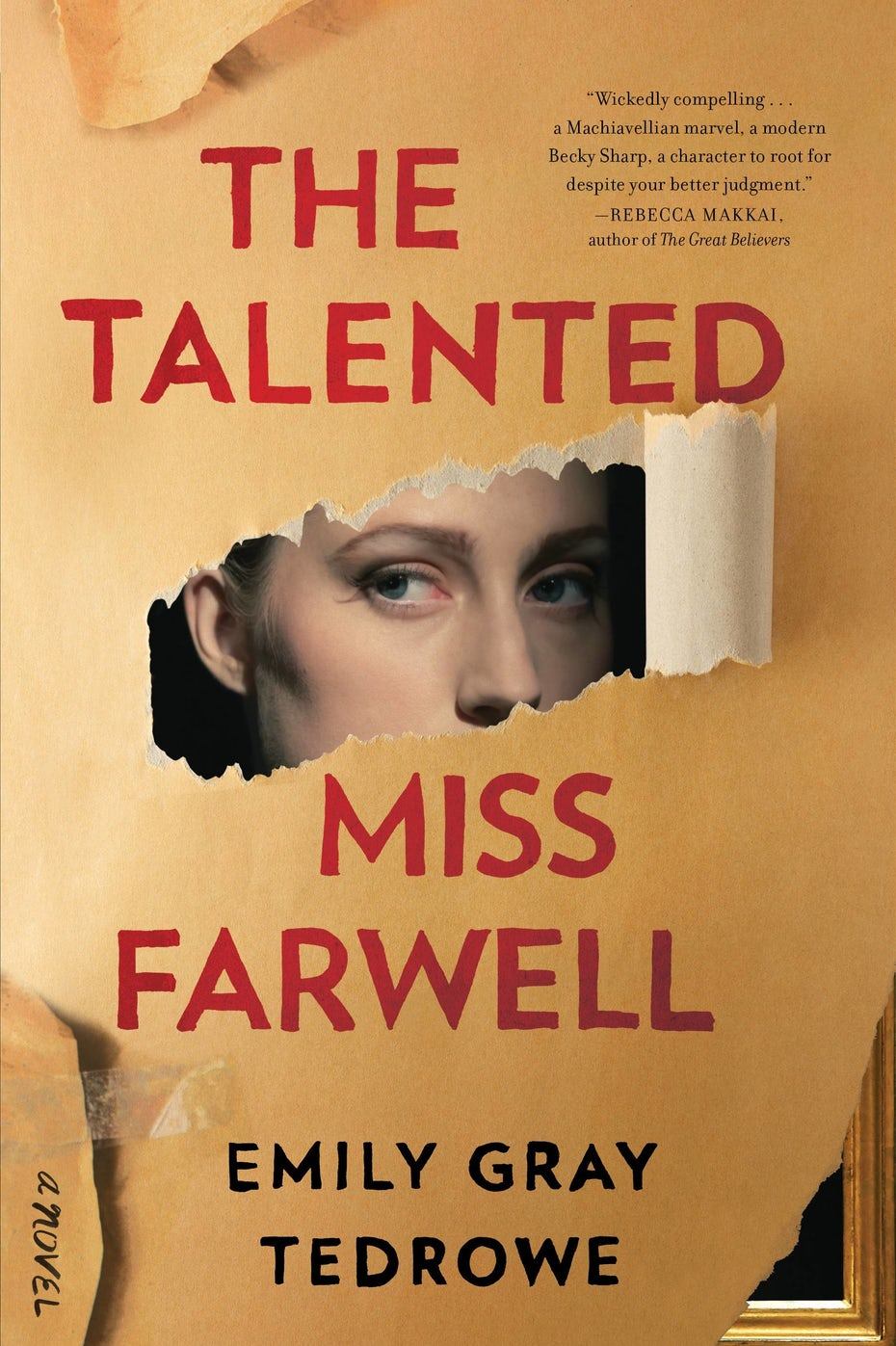 tan book cover with red text and a torn-away image revealing a woman's eyes
