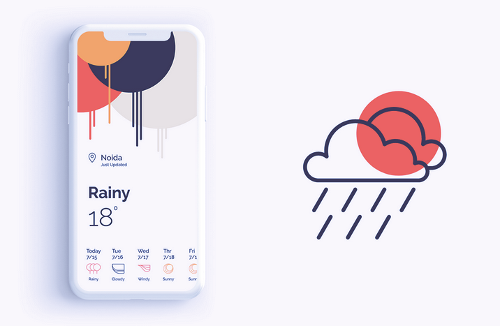 app design trend example of abstract and geometric art