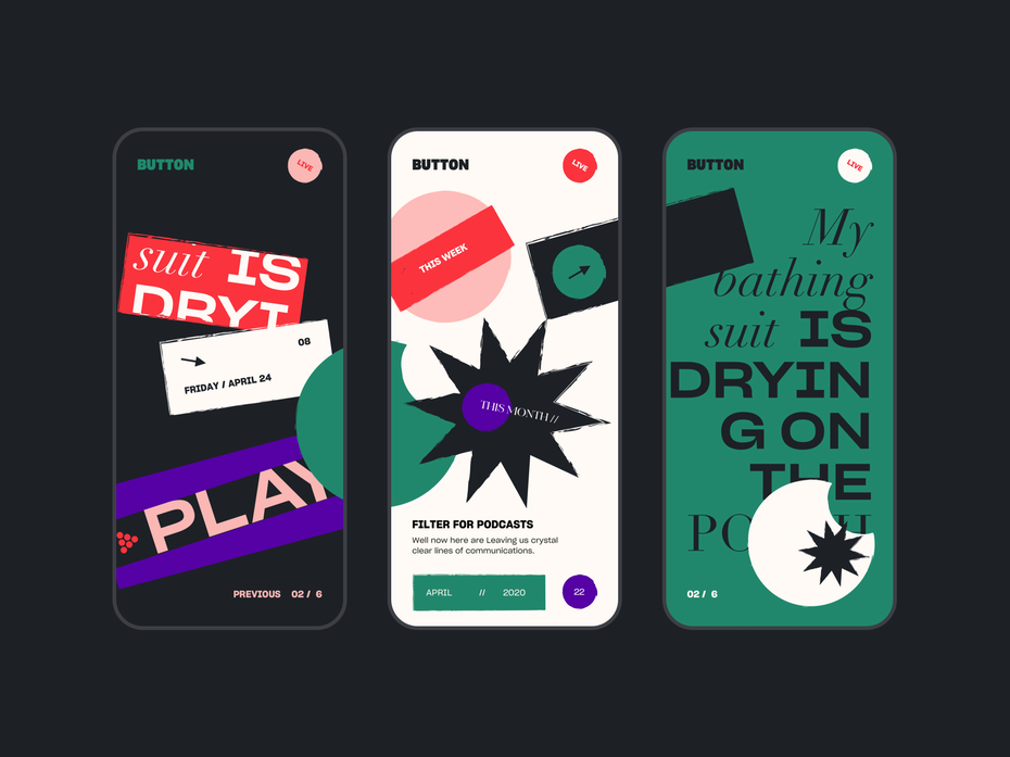 analogue app design trend example with collage style
