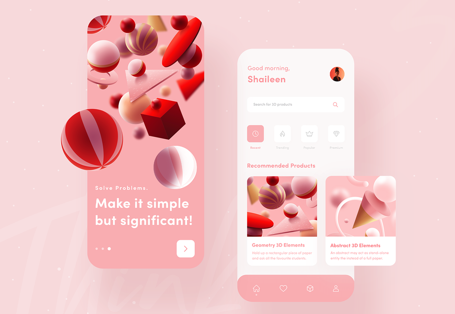 app design trend example of abstract and geometric art with 3d elements
