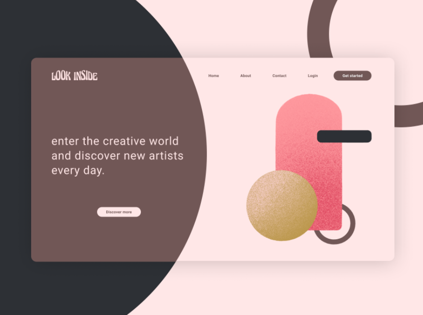 Landing page design with abstract art elements