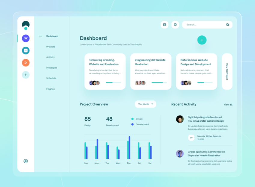 Light blue dashboard web page design