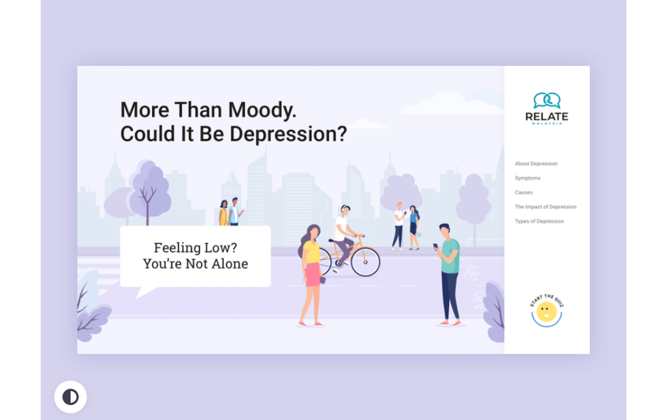 Mental health questionnaire for therapy web page design