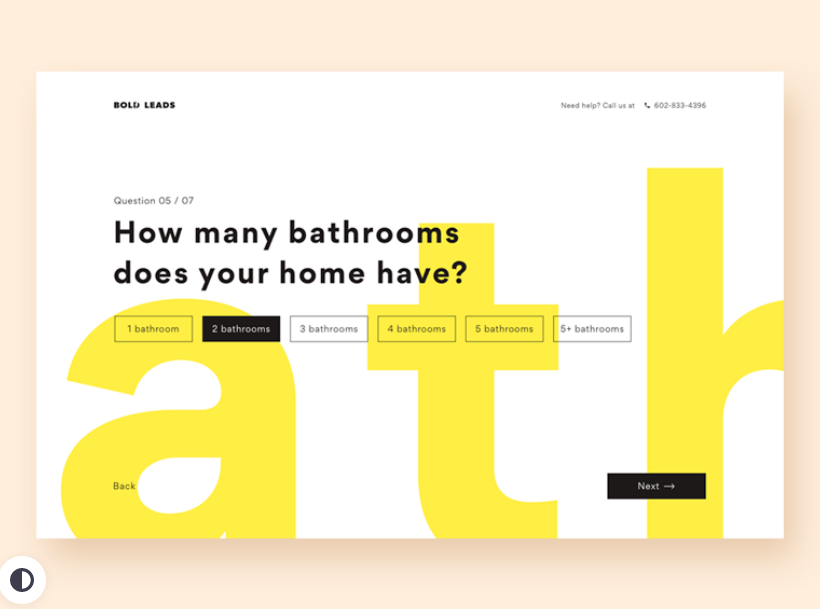 Onboarding questionnaire web page design