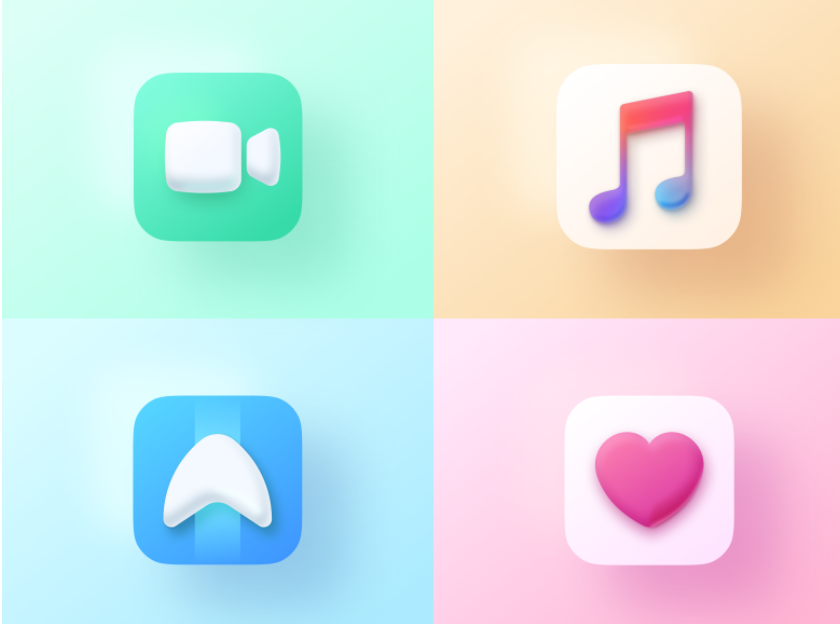 3D app icon designs in Big Sur style