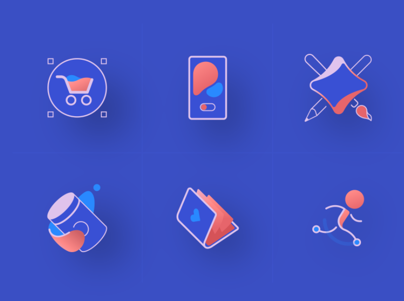 3D icon designs with semi-flat colors