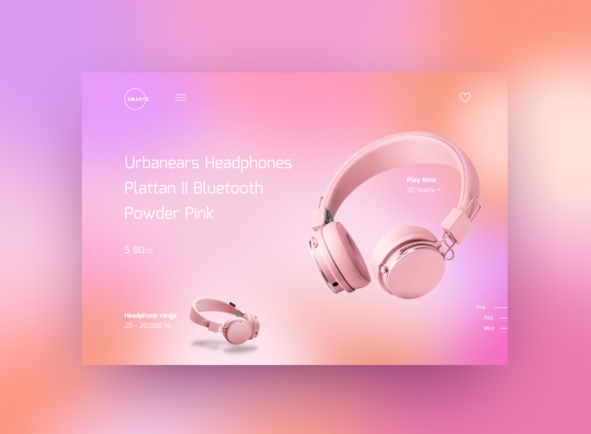 Bright gradient pink color scheme for web page design