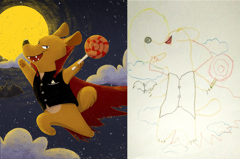illustration hund mit mond und lolly