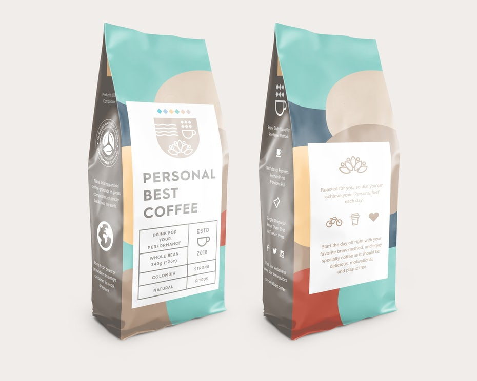 organic color blocking packaging design trend: coffee packaging in different colors