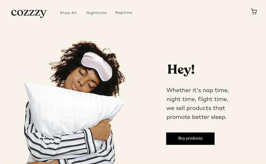 Light tan web page design for mattress company