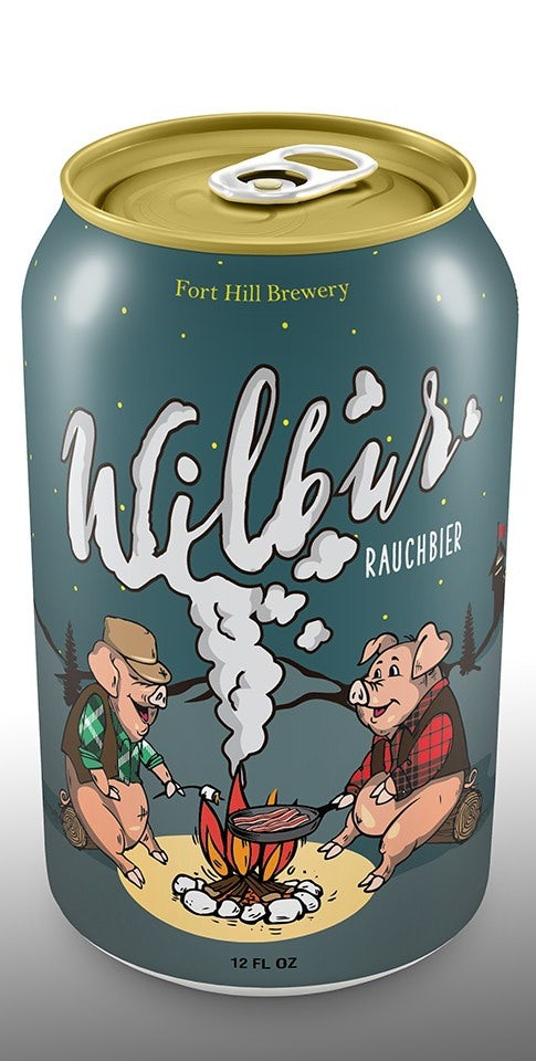 story-driven packaging design trend: beer can showing two pigs sitting by a campfire