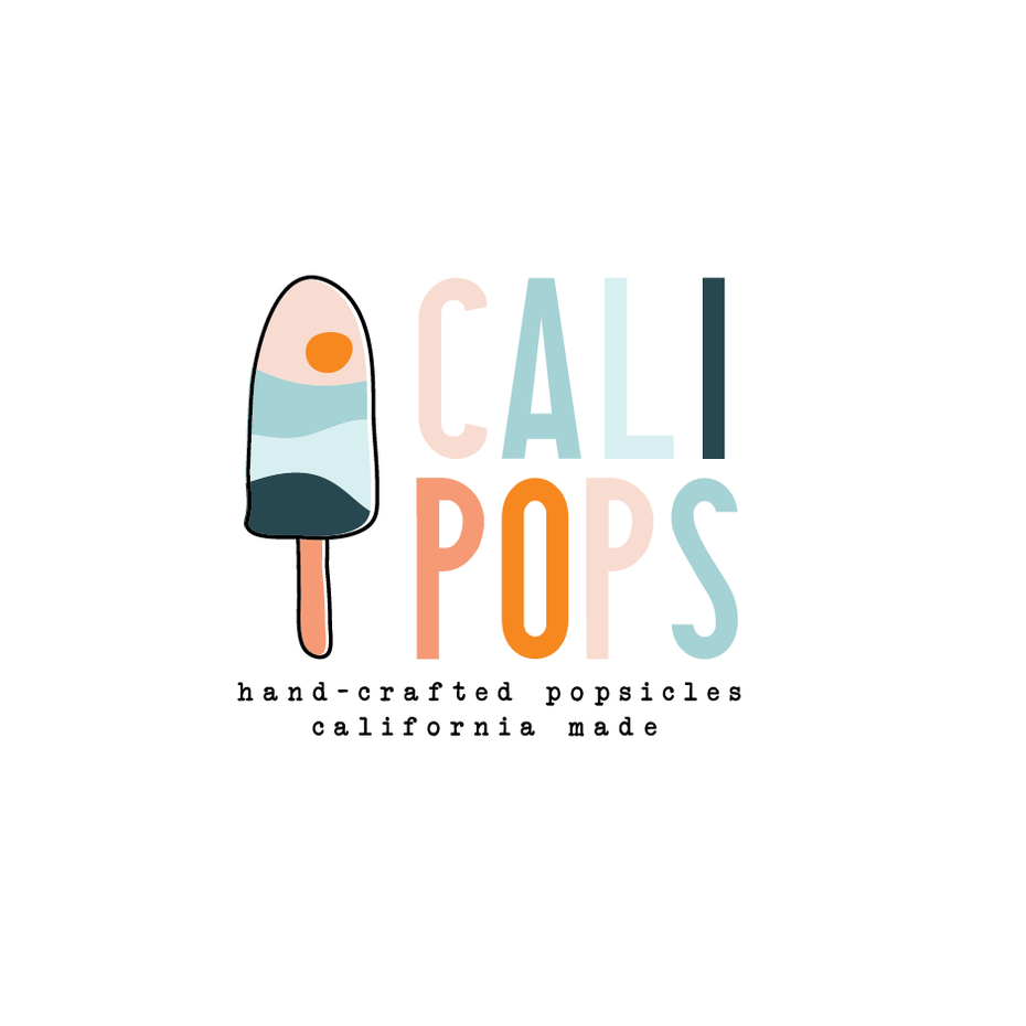 Blue pink popsicle logo design