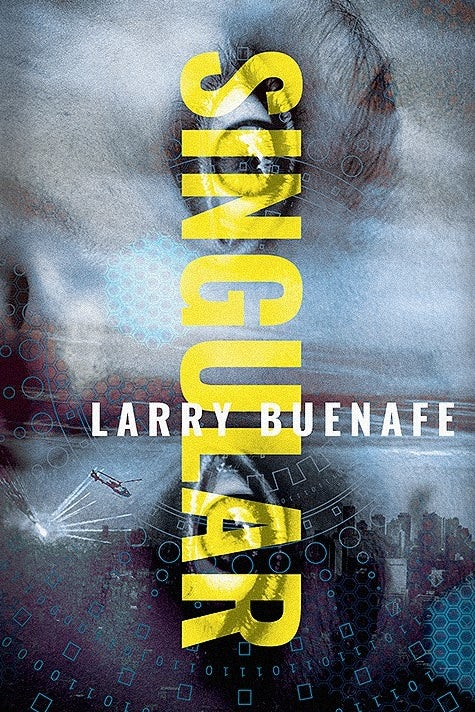 book cover in shades of blue with a face and yellow text