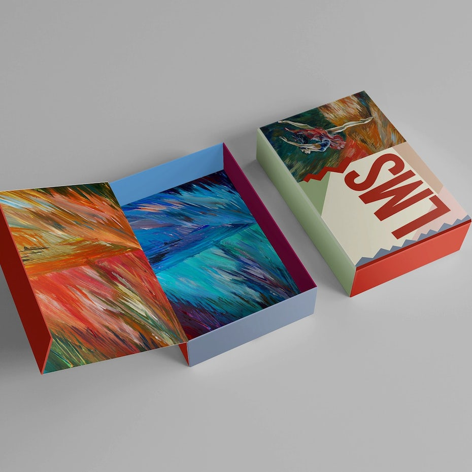 tote bag with a painting-inspired image of a dancer and an abstract box