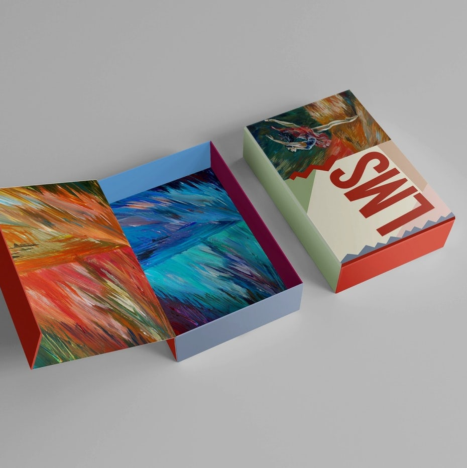 fine art packaging design trend: packaging with a painting-inspired image of a dancer and an abstract box