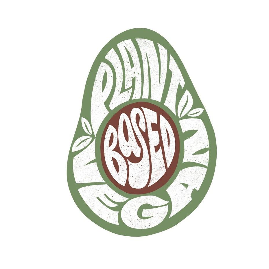 70s style hand-lettering for vegan t-shirt
