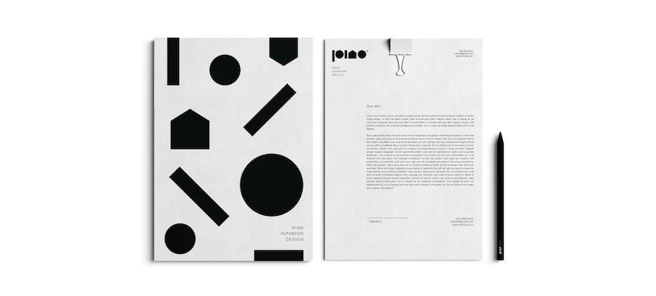 Design de logo monochrome avec des formes abstraites simples et de la typographie