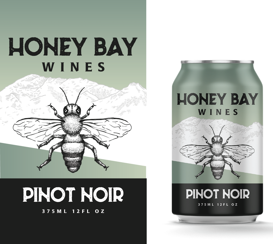 anatomical drawing packaging design trend: can showing a bumblebee and mountain range on its label