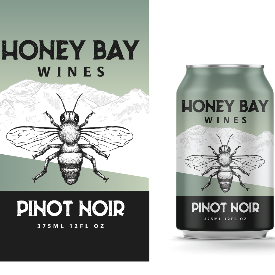 can showing a bumblebee and mountain range on its label