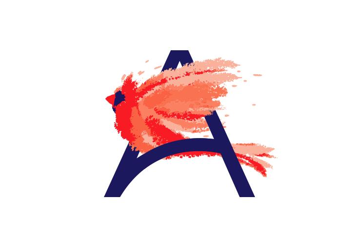 logo design trends example: Soaring watercolor bird logo design