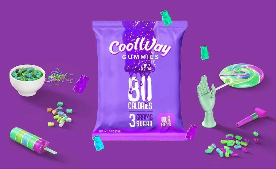 solid color packaging design trend: purple packet packaging for gummy candies