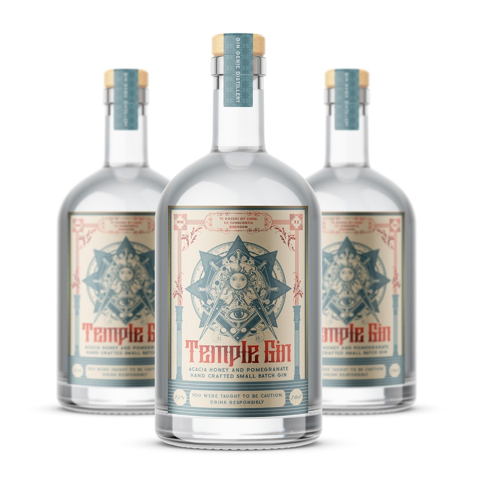 vintage experience packaging design trend: gin bottles with intricate illustrated labels