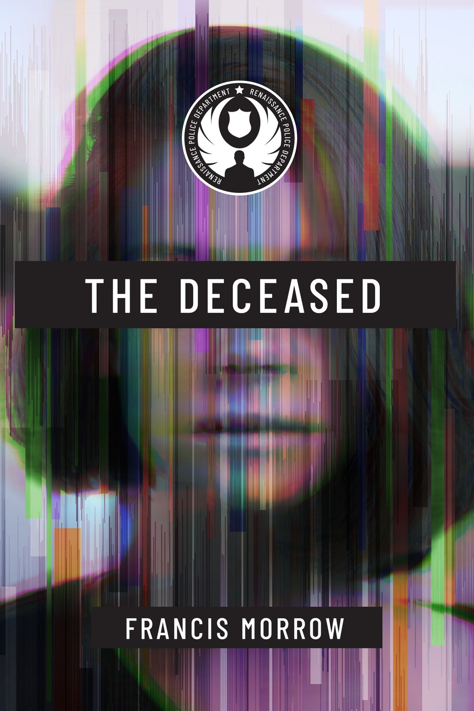 blurry book cover trends example: glitch art design in mostly shades of purple, showing a woman's face