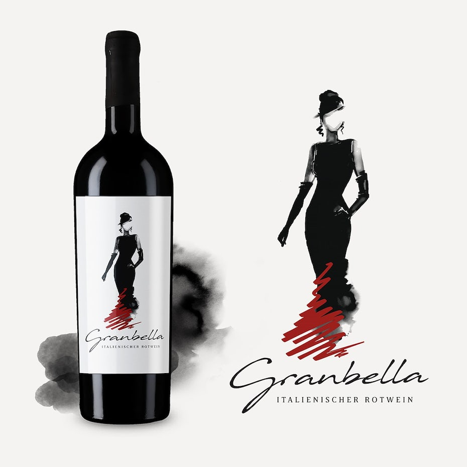 minimalist wine label featuring an illustration of a woman