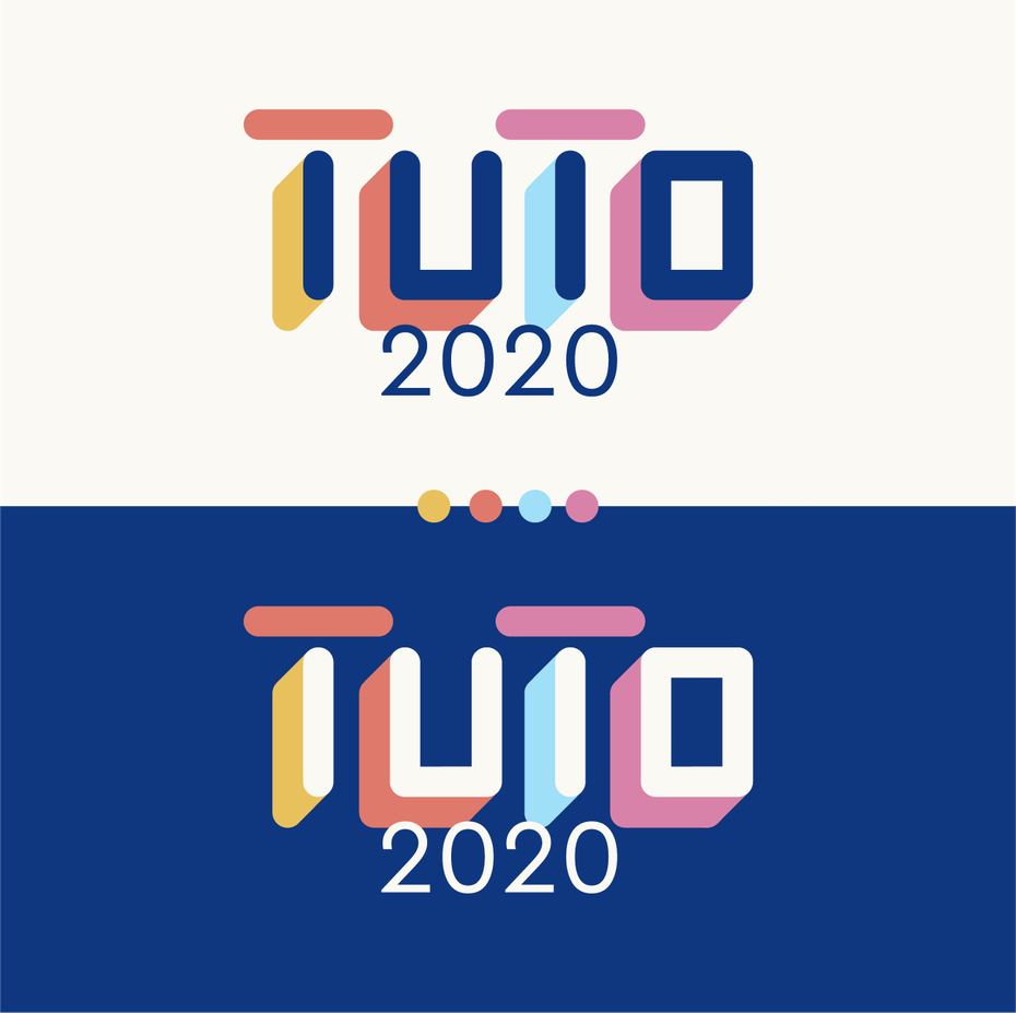 Colorful wordmark logo design with solid shadows
