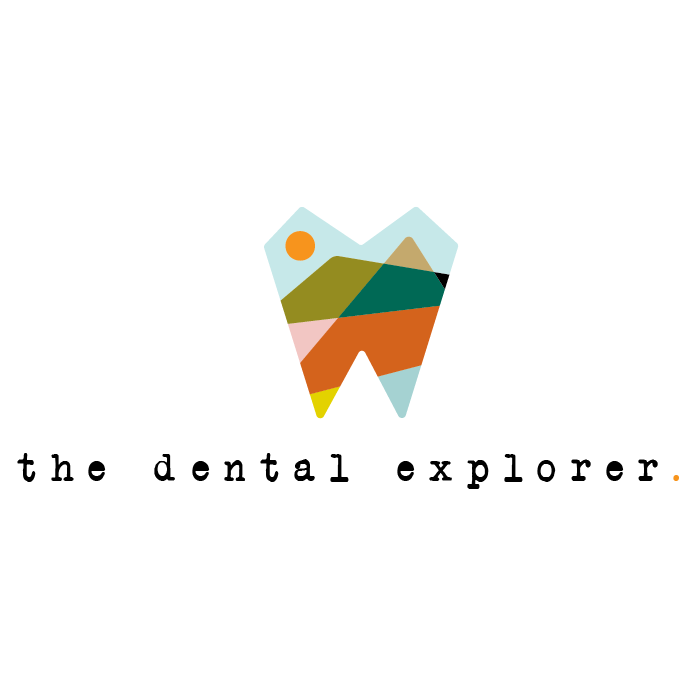 logo design trends example: Abstract stained glass style logo design for dentist brand