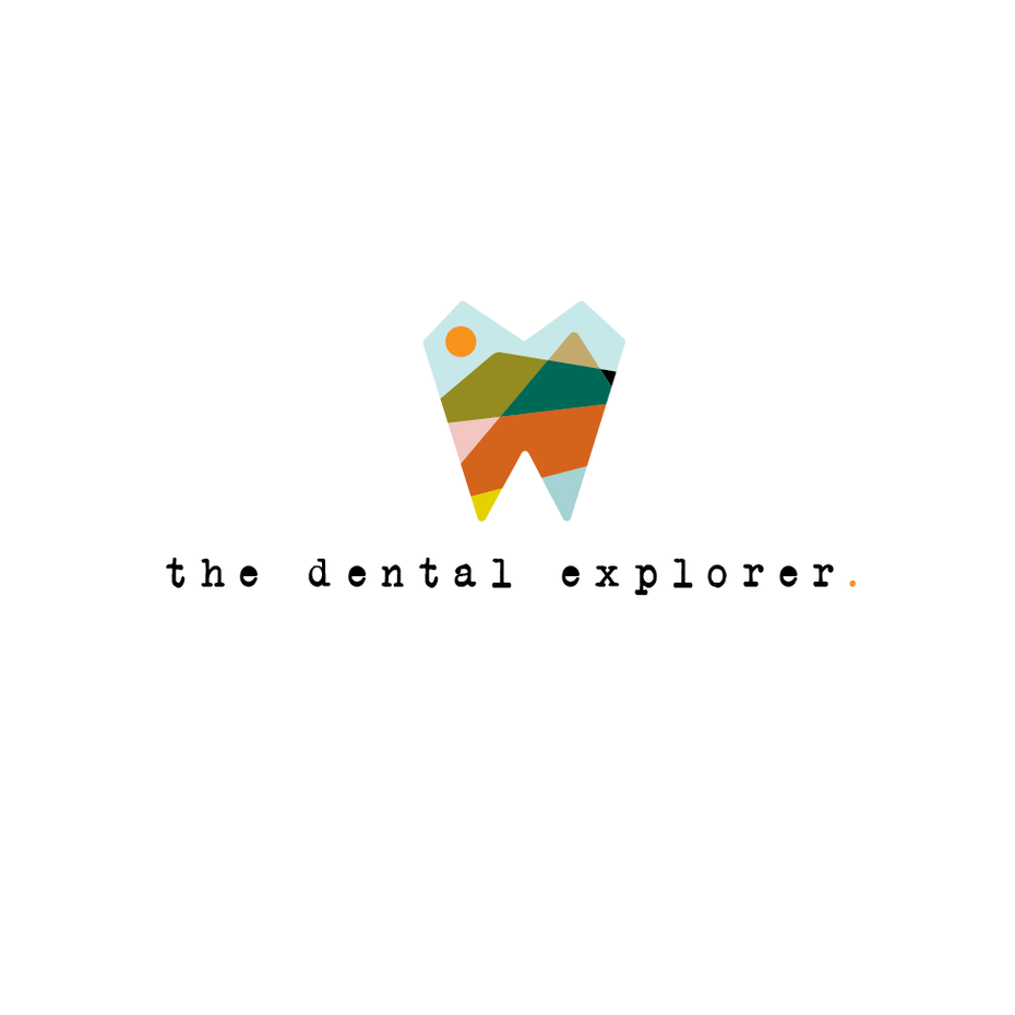 Abstract stained glass style logo design for dentist brand