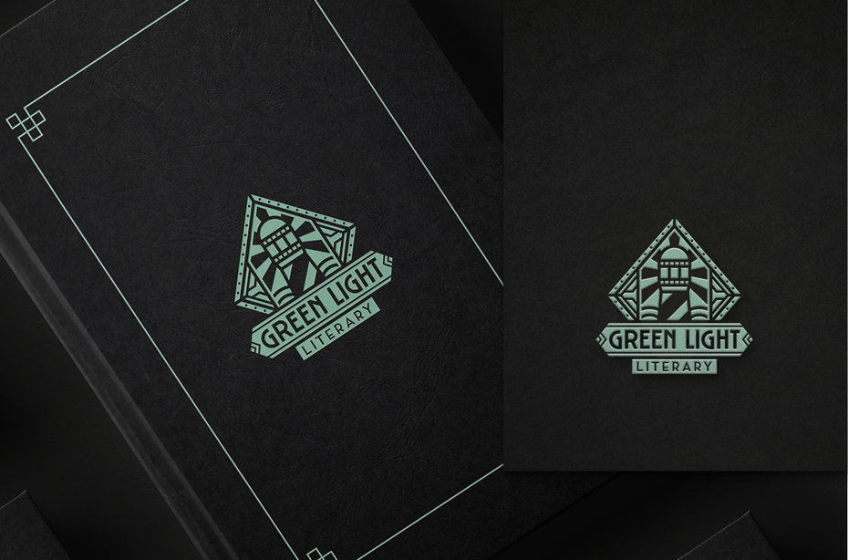logo design trends example: Symmetrical art deco logo design for literary agency