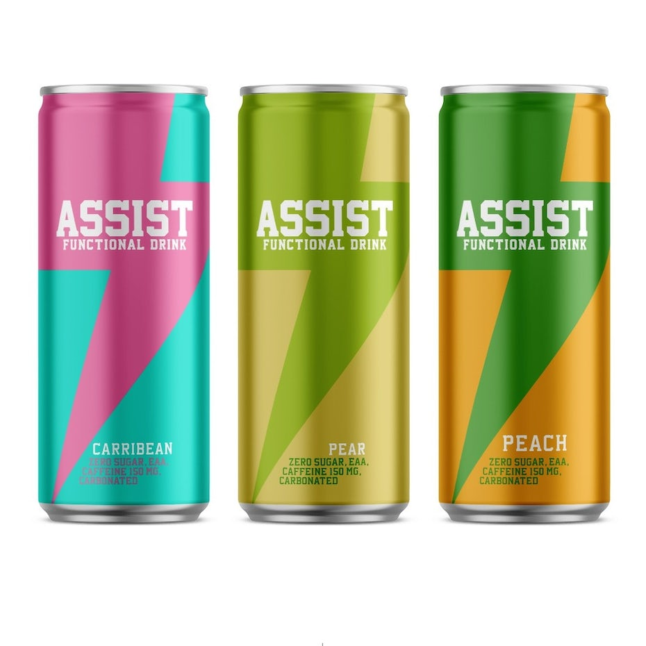 geometry packaging design trend: three energy drink cans, each with a lightning bolt design