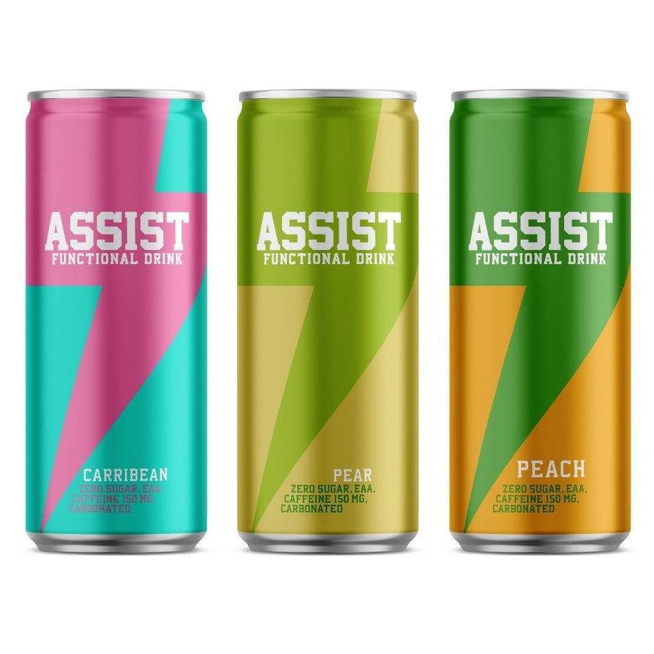three energy drink cans, each with a lightning bolt design