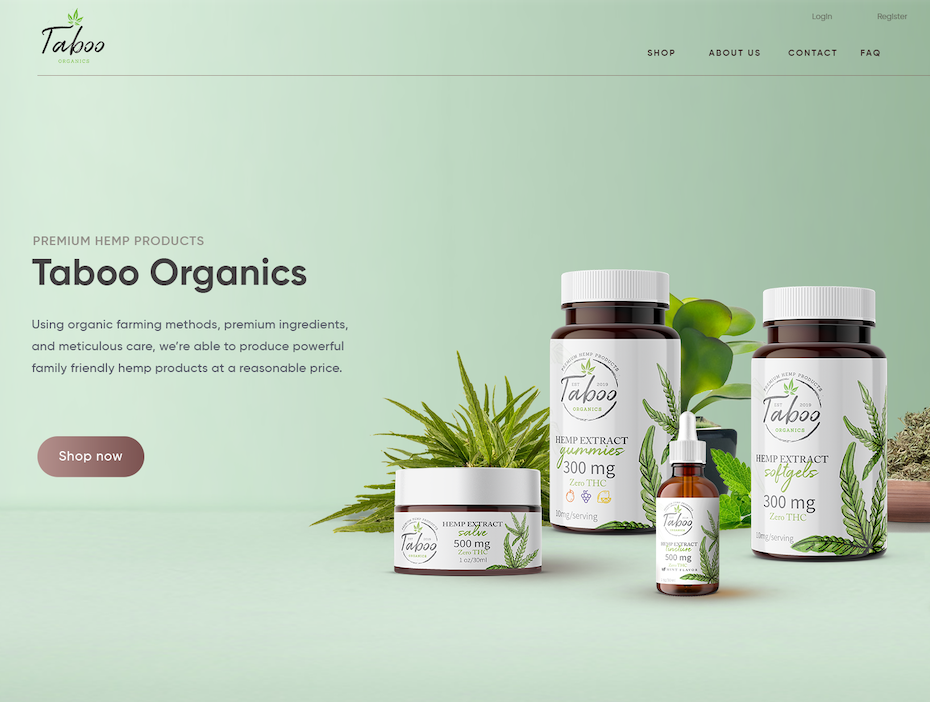 Hemp product web page design with soft green colors