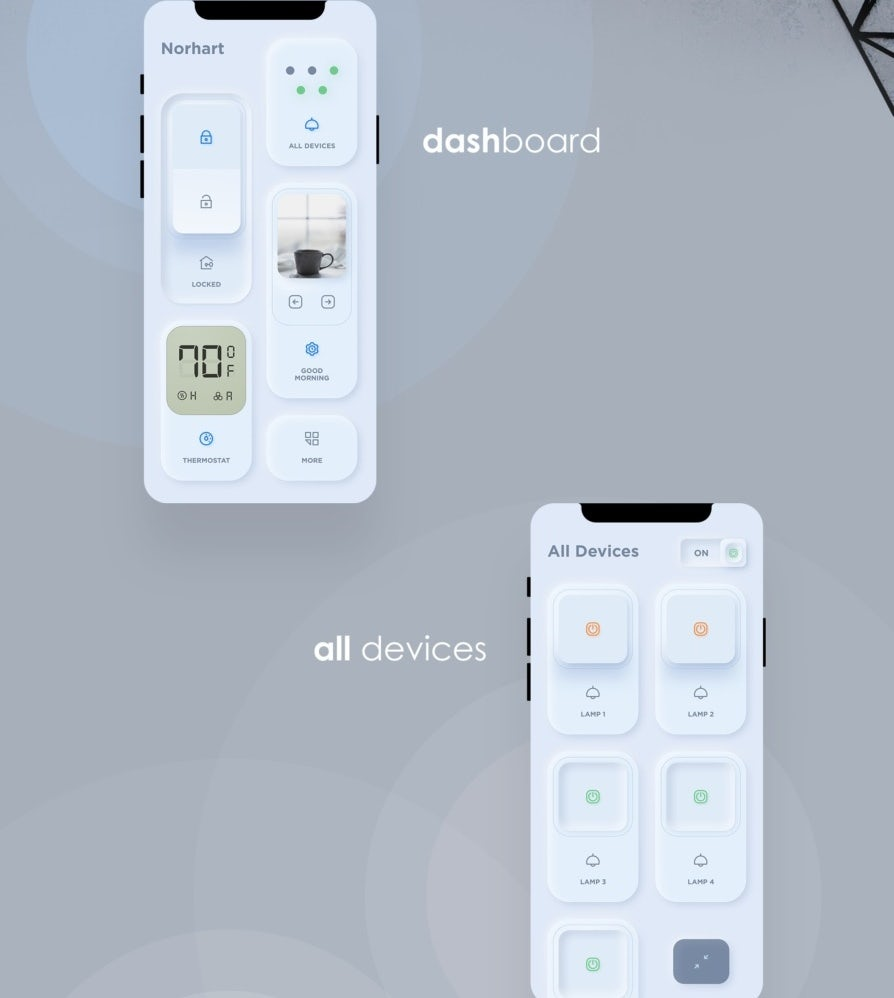 Neumorphic smart home app design