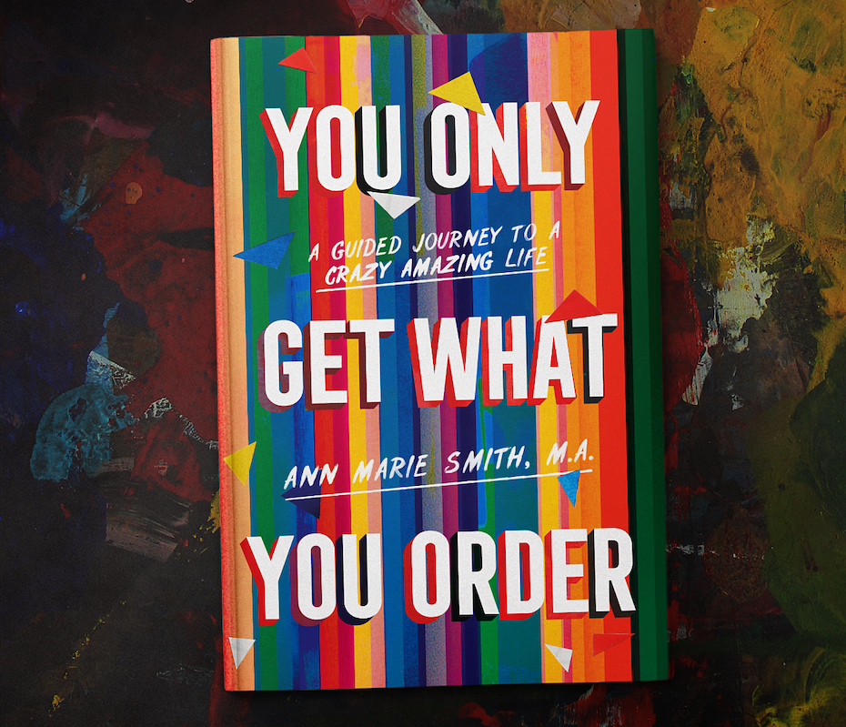 Book cover design with typography with colorful solid shadows
