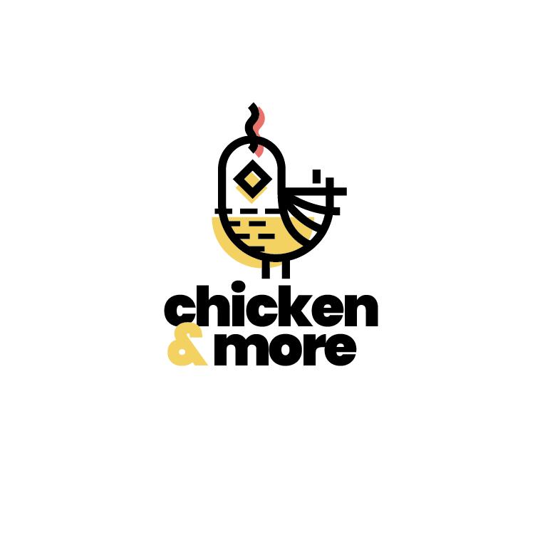 logo design trends example: Colorful monoline chicken abstract logo design