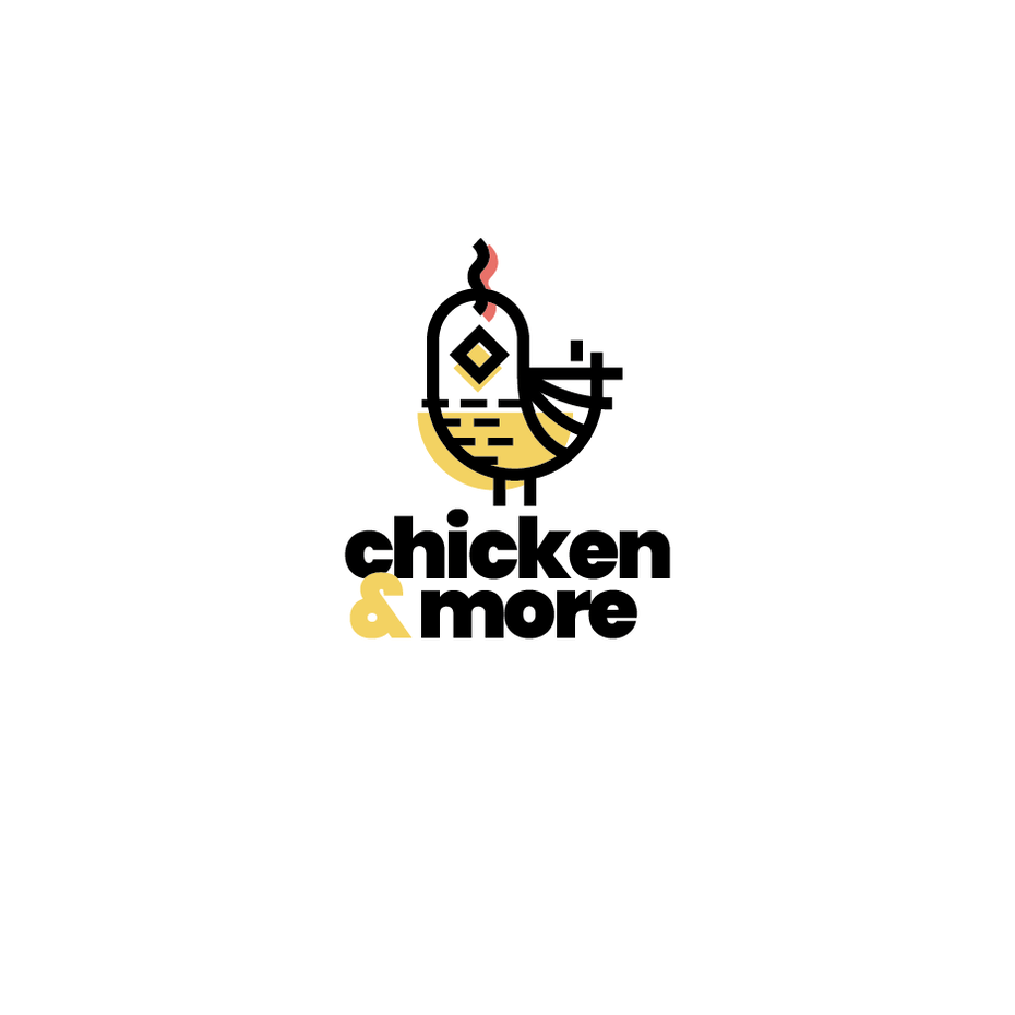 Colorful monoline chicken abstract logo design