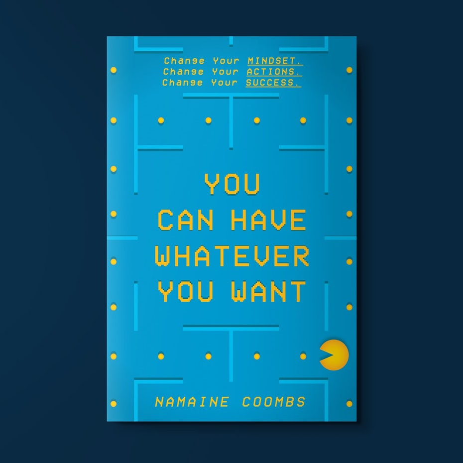 book cover trends example: light blue book cover with 8-bit yellow text, designed like a Pacman level