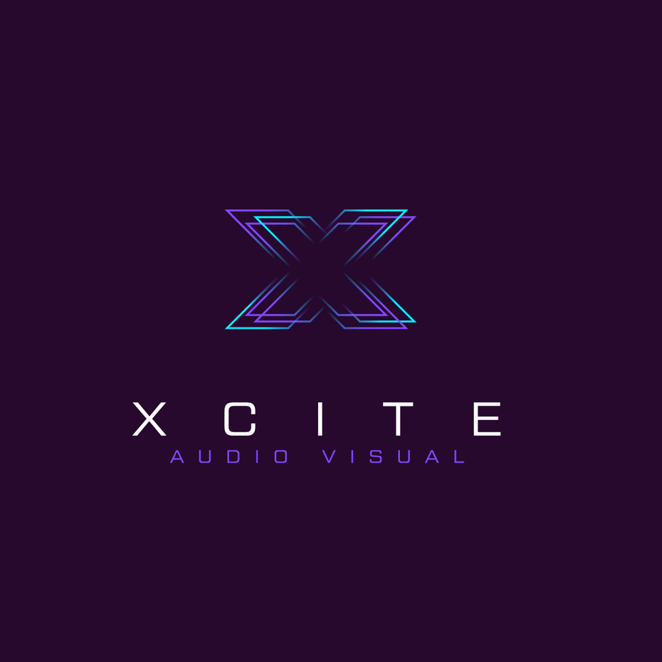 Glitch style vibrating logo design for audio brand
