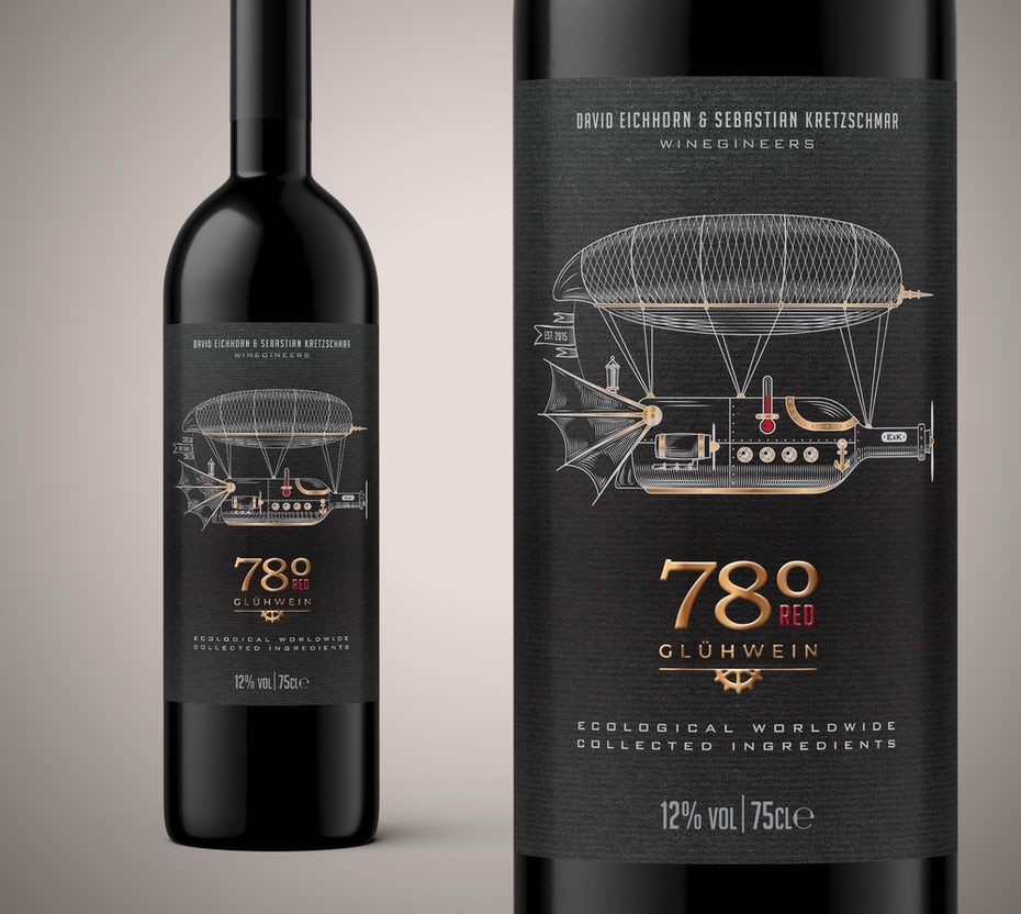 technical drawing packaging design trend: wine bottle with a label showing an airship