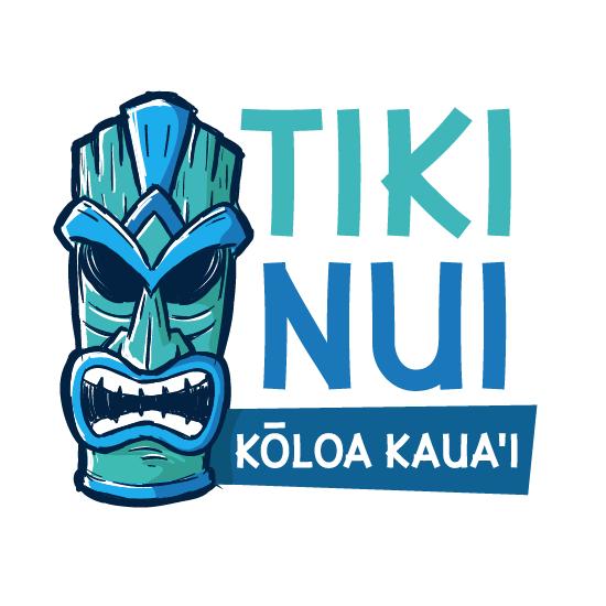 logo design trends example: Blue teal tiki illustration logo design